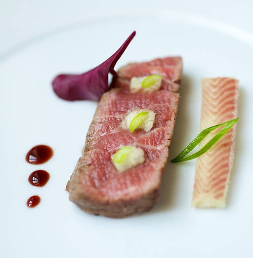 Veuve Clicquot - Kobe beef with smoked eel and coral sauce