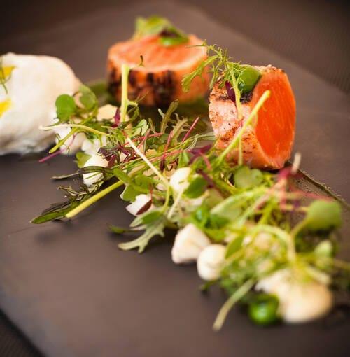 Veuve Clicquot - Carmelized salmon cubes