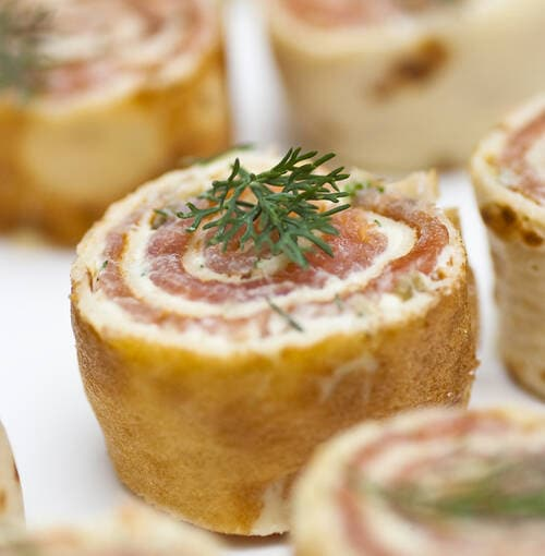 Veuve Clicquot - Salmon spirals with lemon confit