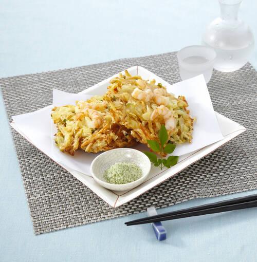 Veuve Clicquot - 生アワビの天ぷらをワカメサラダにのせて