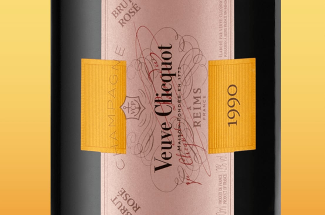 Étiquette de Champagne Veuve Clicquot Cave Privée Rosé 1990