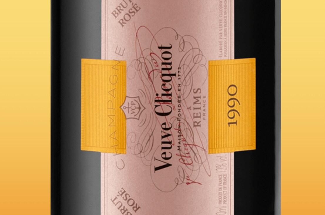 Label Veuve Clicquot Champagner Cave Privée Rosé 1990