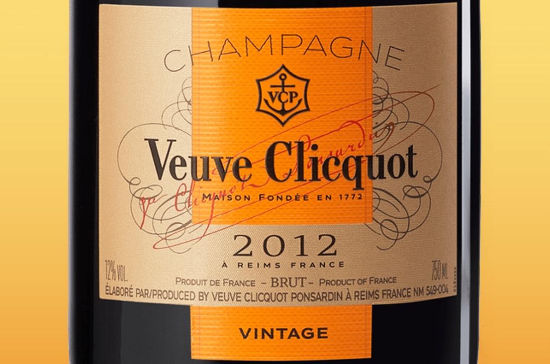 Etiqueta de champagne Veuve Clicquot Vintage Brut 2012