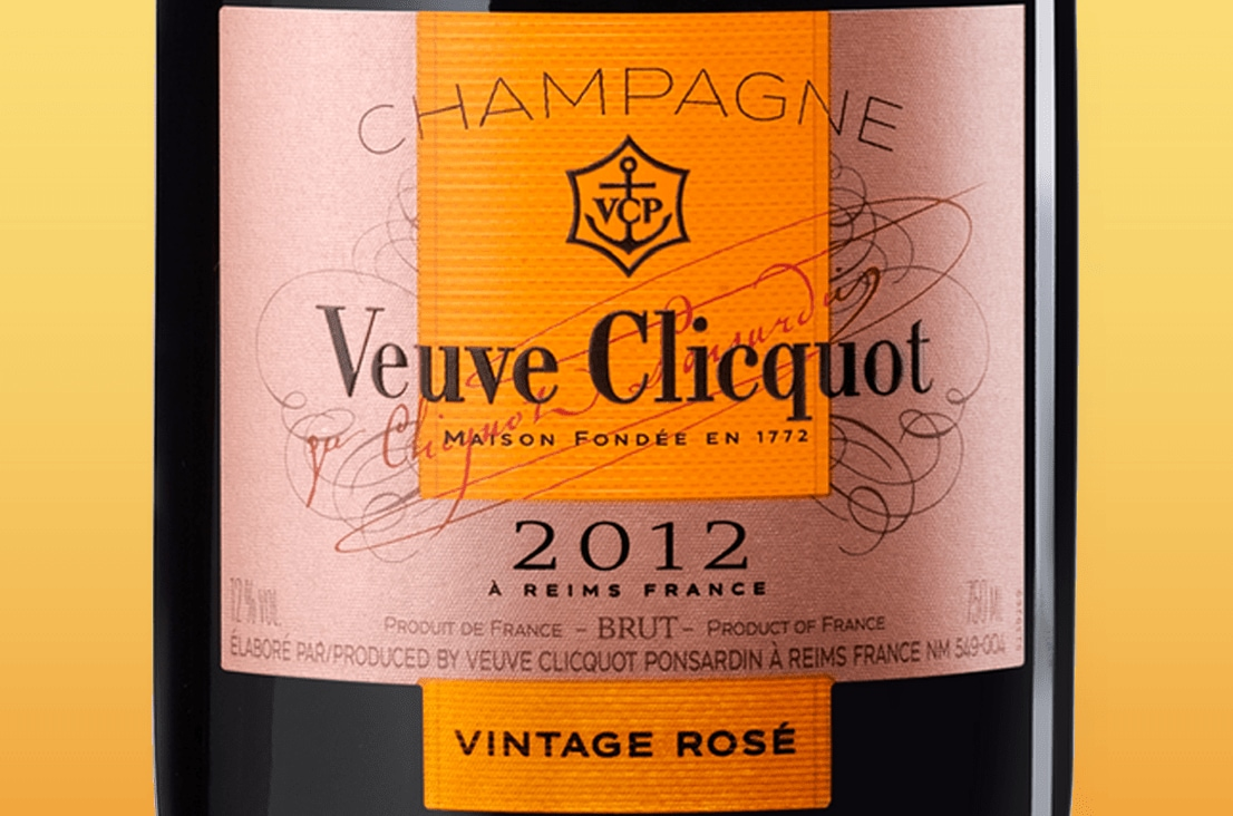 Label Veuve Clicquot Champagne Vintage Rosé 2012