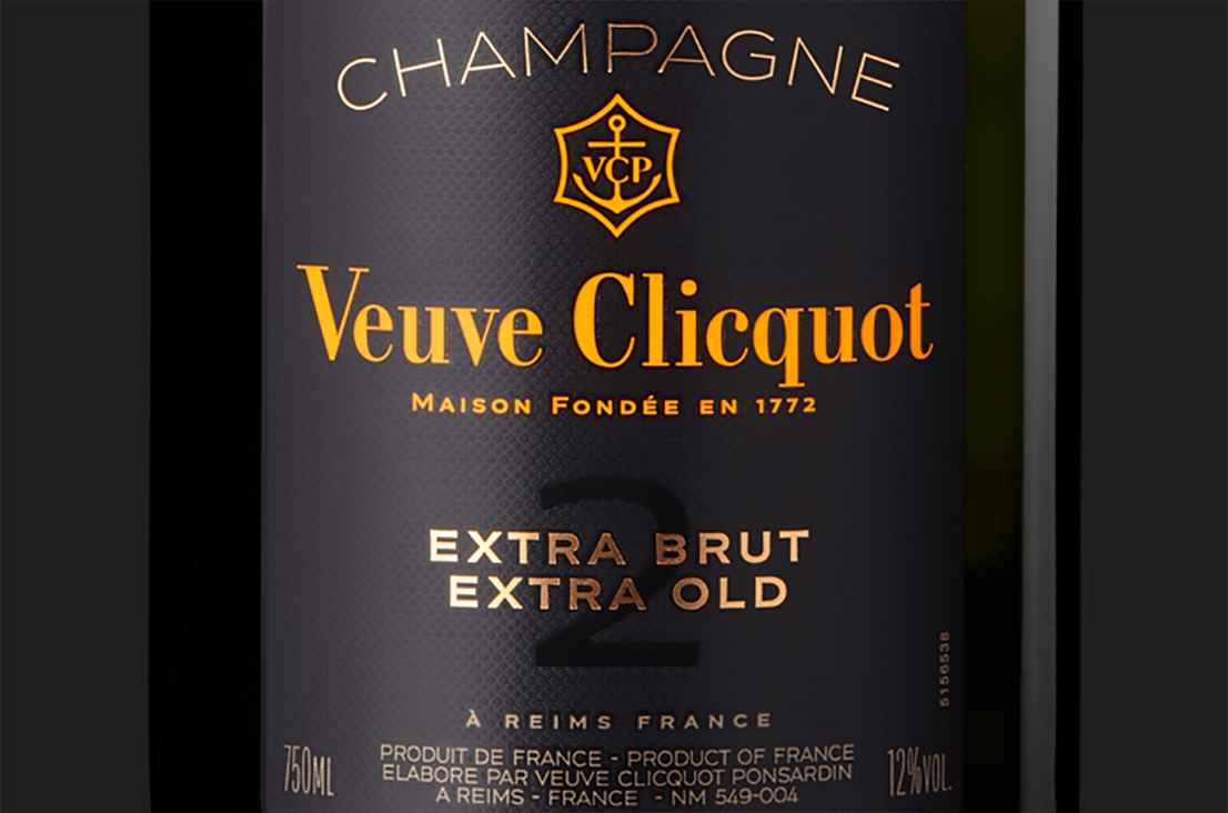 Etiqueta de champagne Veuve Clicquot Extra Brut Extra Old 2