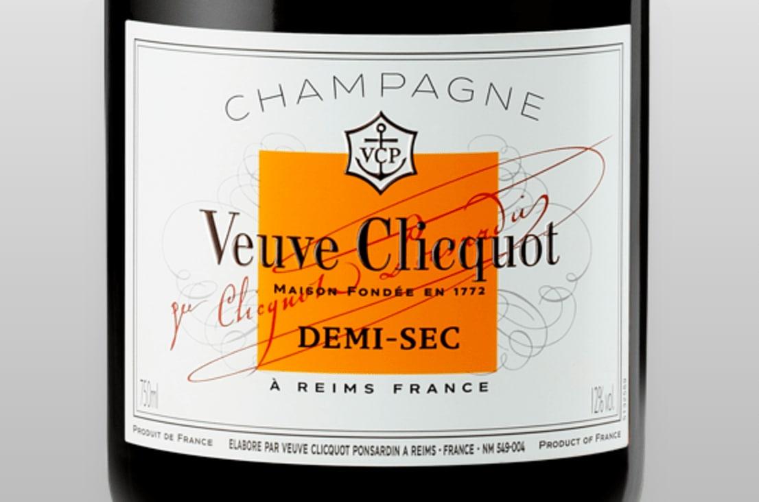 Etiqueta de champagne Veuve Clicquot Semiseco