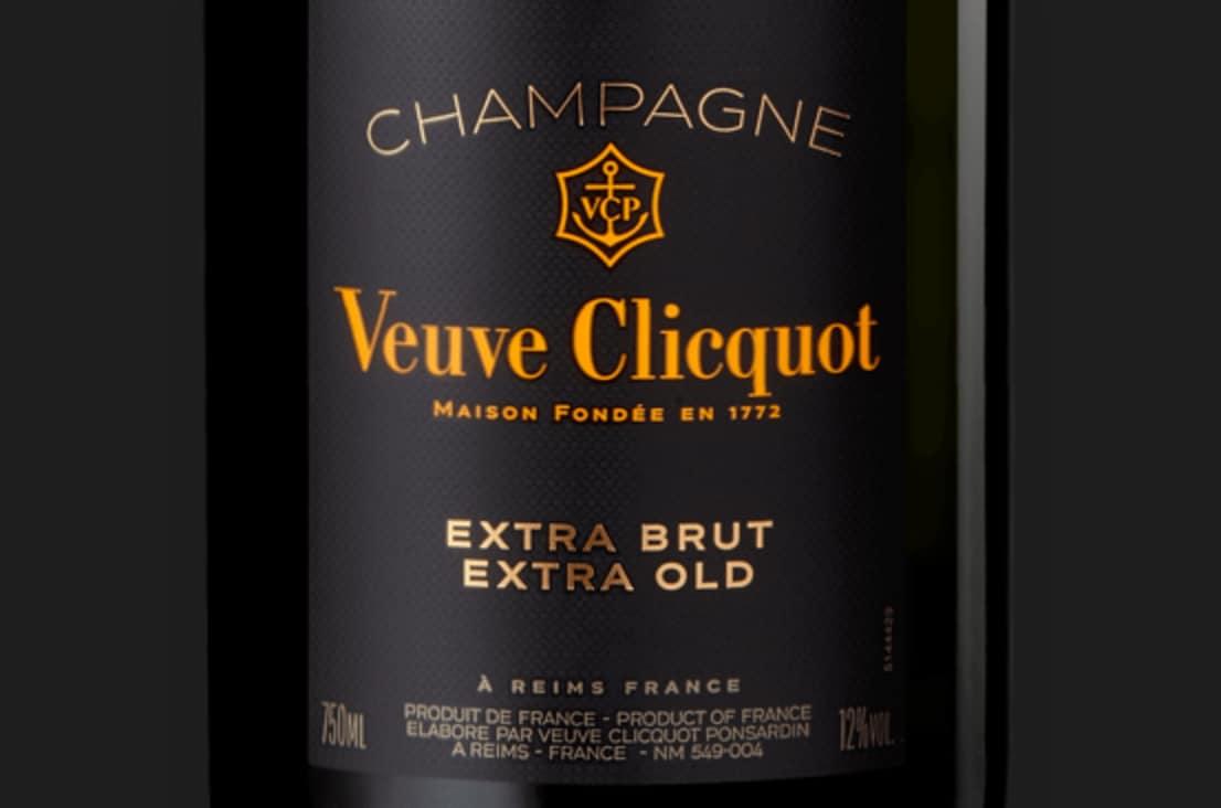 Etiqueta de champagne Veuve Clicquot Extra Brut Extra Old 1