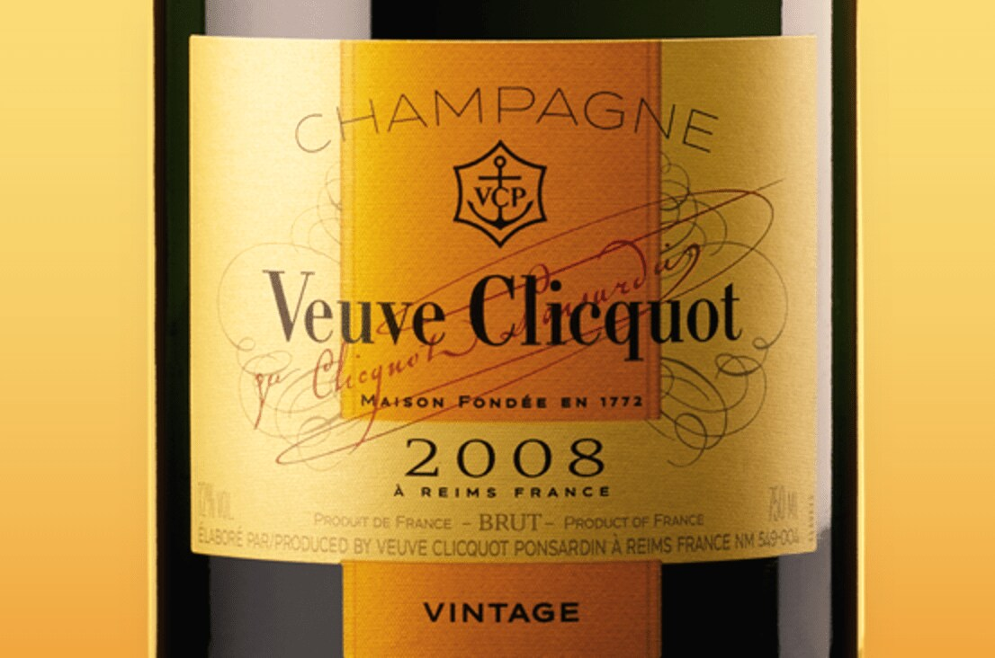 Rótulo do Champagne Veuve Clicquot Vintage Brut 2008