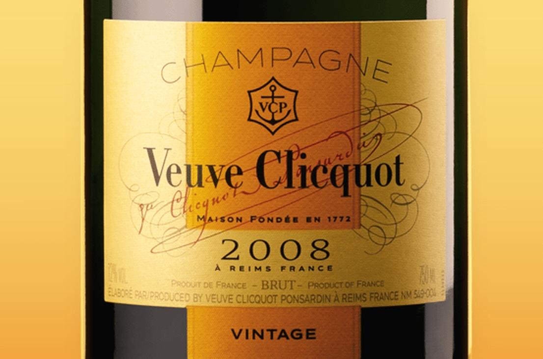Etiqueta de champagne Veuve Clicquot Vintage Brut 2008