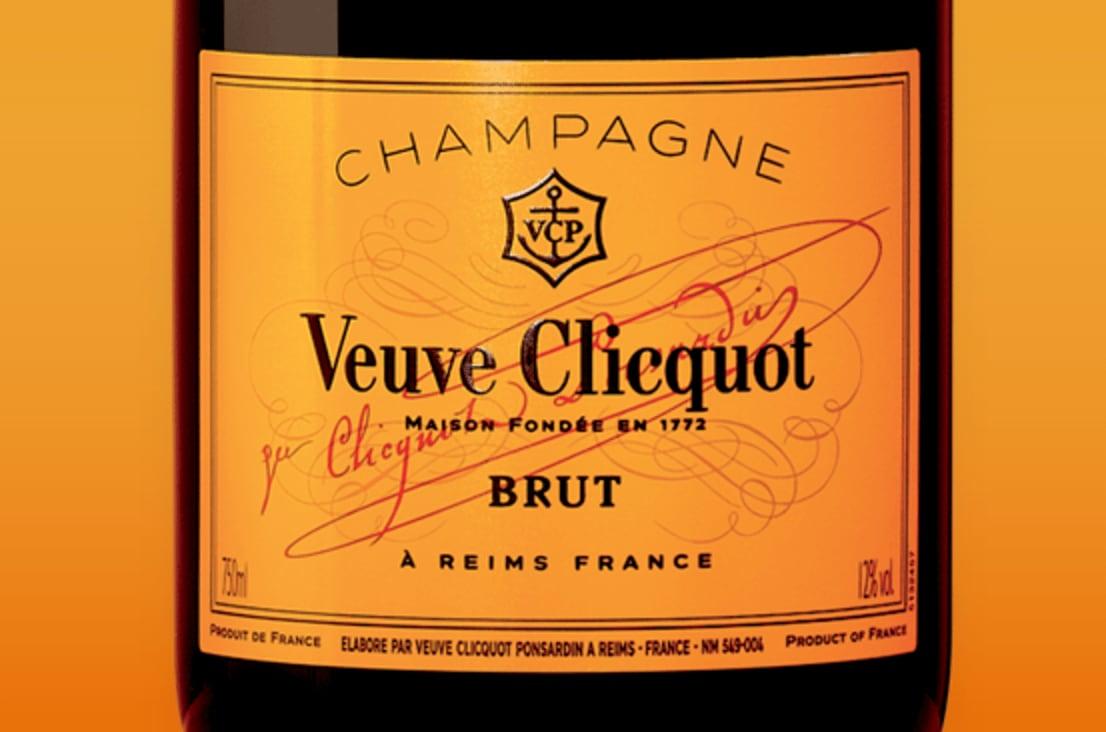 Rótulo do Champagne Veuve Clicquot Brut