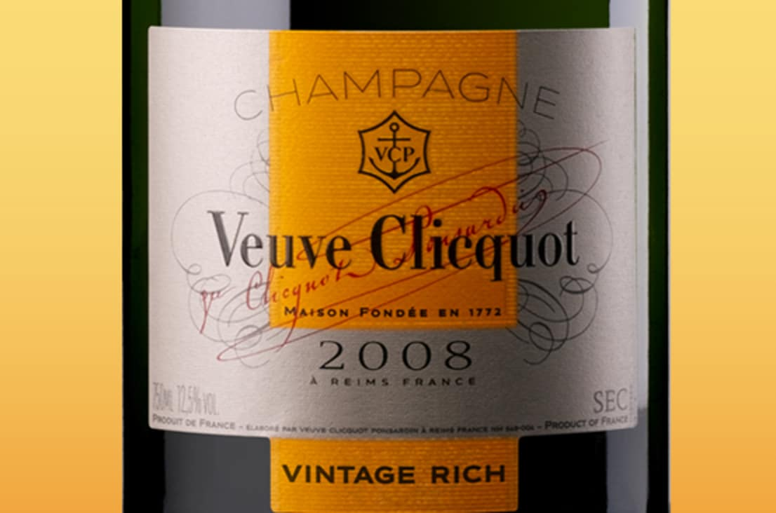 Rótulo do Champagne Veuve Clicquot Vintage Rich 2008