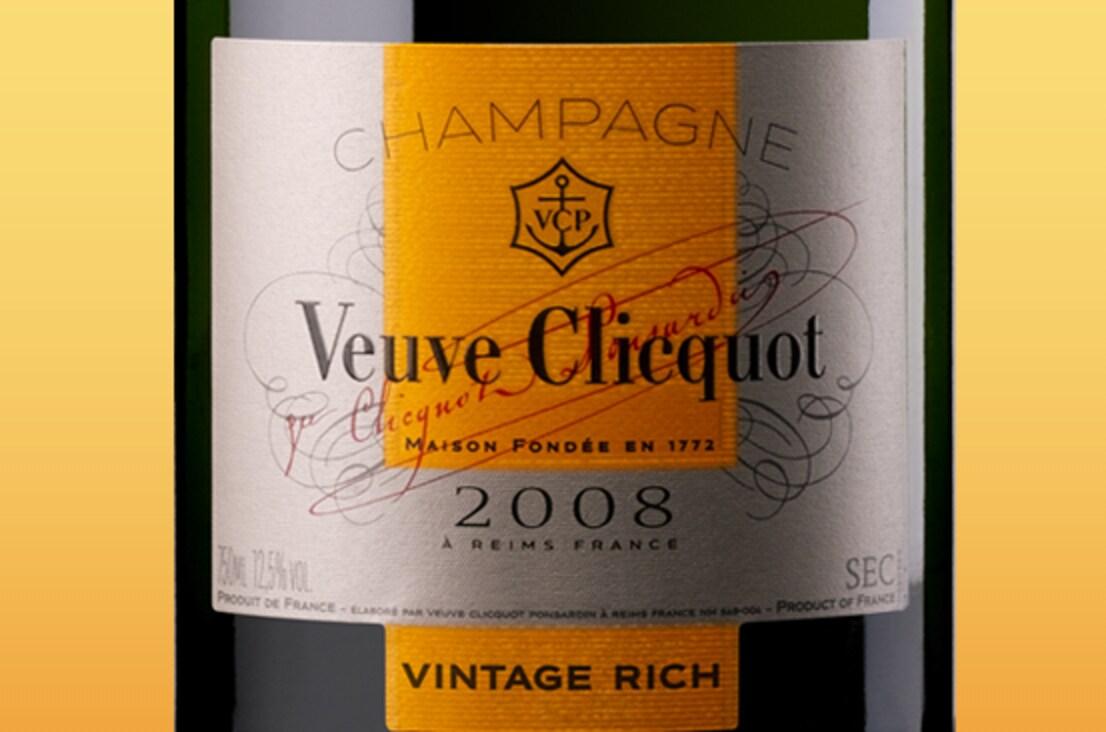 Этикетка шампанского Veuve Clicquot Vintage Rich 2008