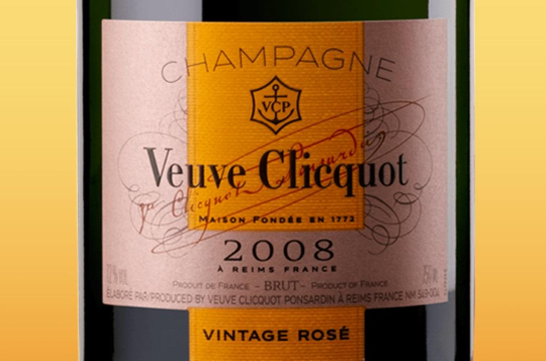 Etiqueta de champagne Veuve Clicquot Vintage Rosé 2008